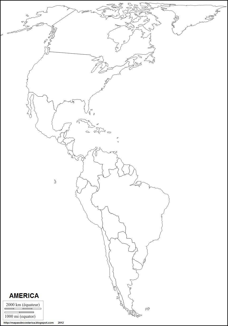 Mapa Mudo De America.Mapa De America Mudo Para Imprimir