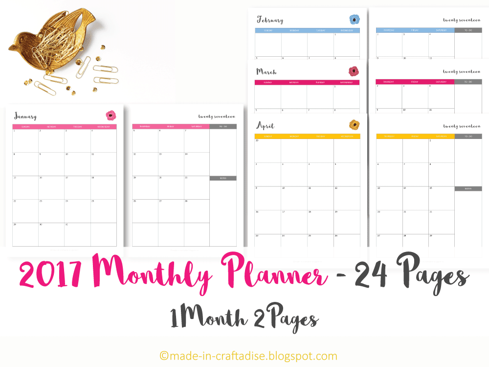 2017 Monthly Planner Printable PDF