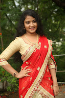 Akshara in Red Saree Golden Choli at LV Movie Makers Production No 1 Movie Opening ~  Exclusive 037.JPG