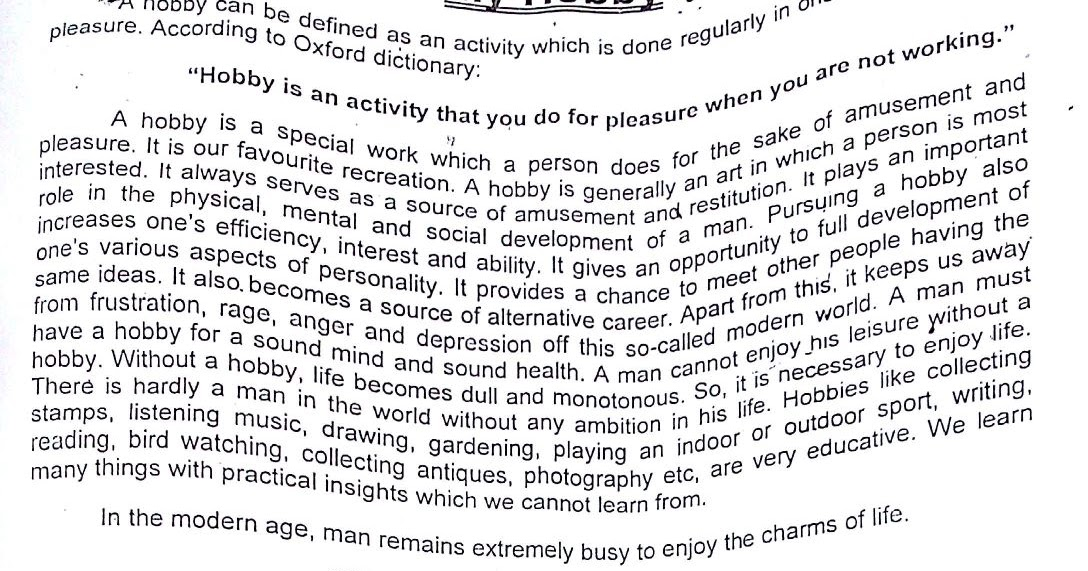 Sample essay about a hobby