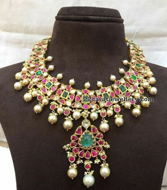 Kundan Necklace with South Pearls Drops