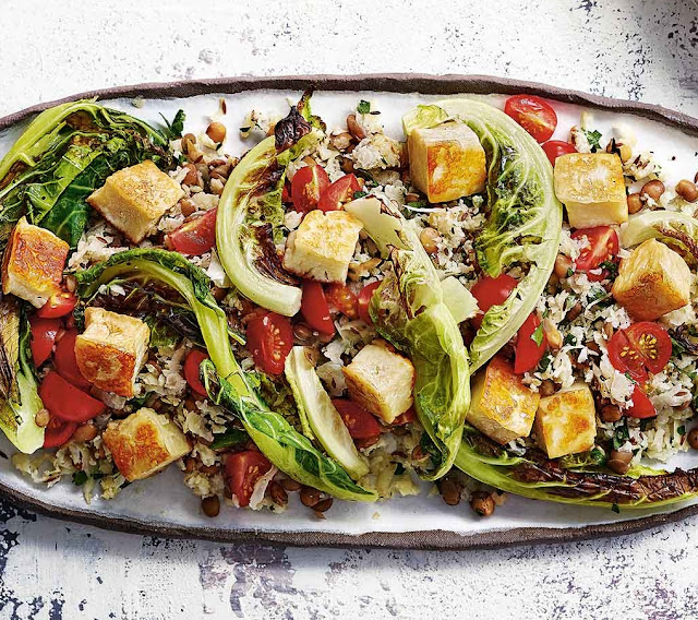 Cauliflower Rice And Halloumi Lentil Salad Recipe