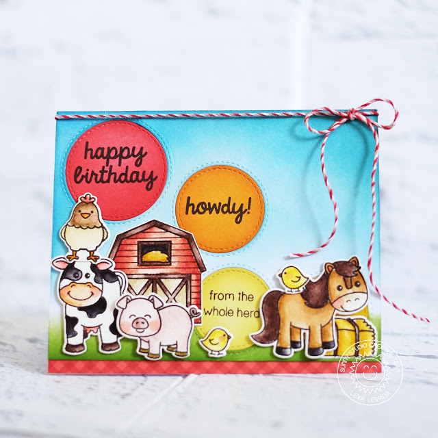 Sunny Studio Stamps: Staggered Circle Dies Barnyard Buddies Birthday Card by Lexa Levana