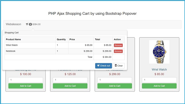 Shopping Cart By Using Bootstrap Popover With Ajax Php Webslesson