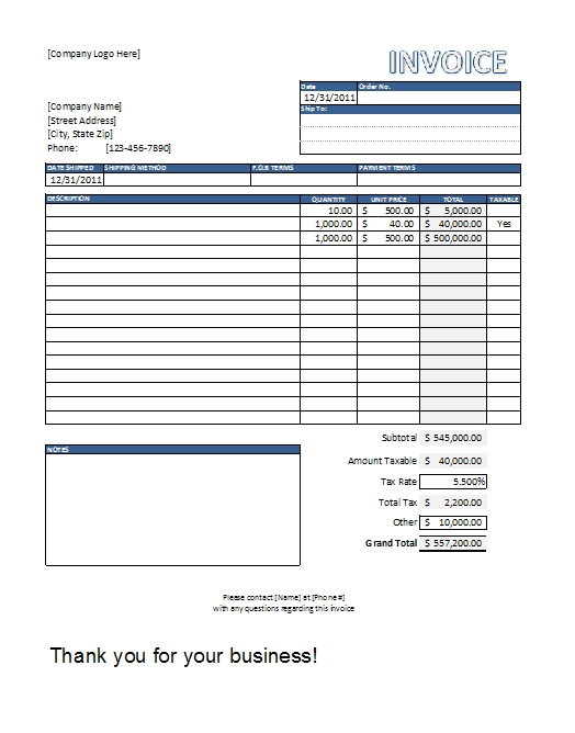 Free Invoice Template - Excel Excel in Life - Templates Included