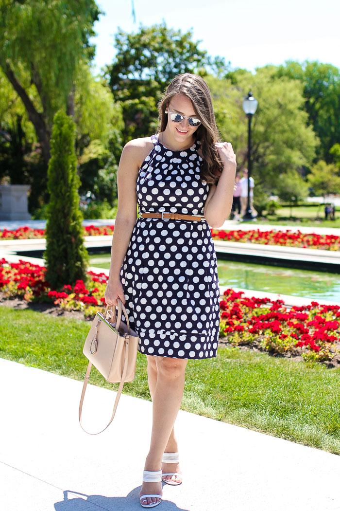 Krista Robertson, Covering the Bases, Travel Blog, NYC Blog, Preppy Blog, Style, Fashion Blog, Preppy Looks, NYC, Summer Must Haves, Summer Fashion, Polka Dot Dress, Navy Dress, Summer in NYC