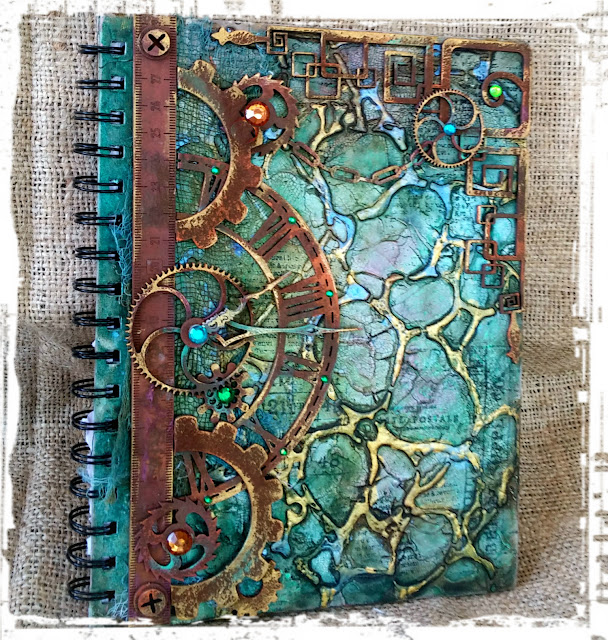 Mixed Media journal cover by Gabrielle Pollacco using Dusty Attic Chipboard and The Crafter's Workshop Stencils, Organic Matter