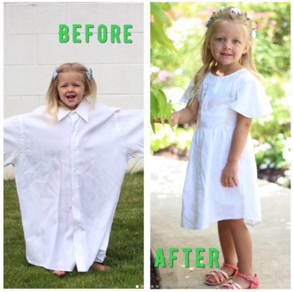 Mãe usa as camisas do pai para criar vestidos para as filhas