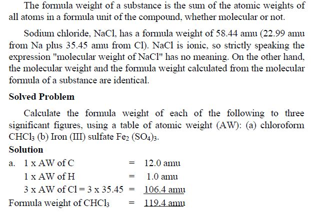 Formula Weight (FW) or Formula Mass