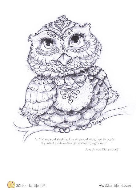 Hattifants Owl  Colouring In Page
