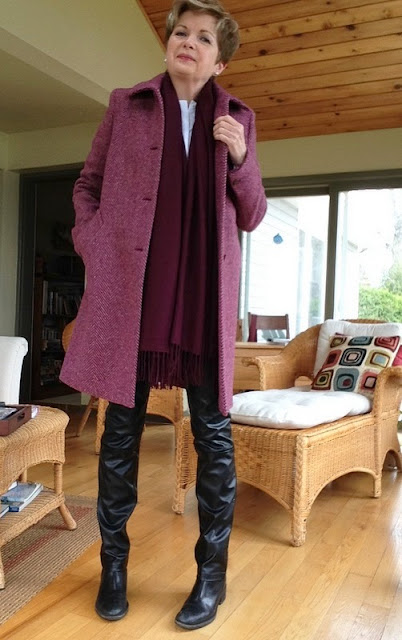 fuchsia herringbone Weekend by Max Mara coat, Cole Haan boots, Holt Renfrew leather trousers, Massimo Dutti white shirt, Nordstrom wool scarf