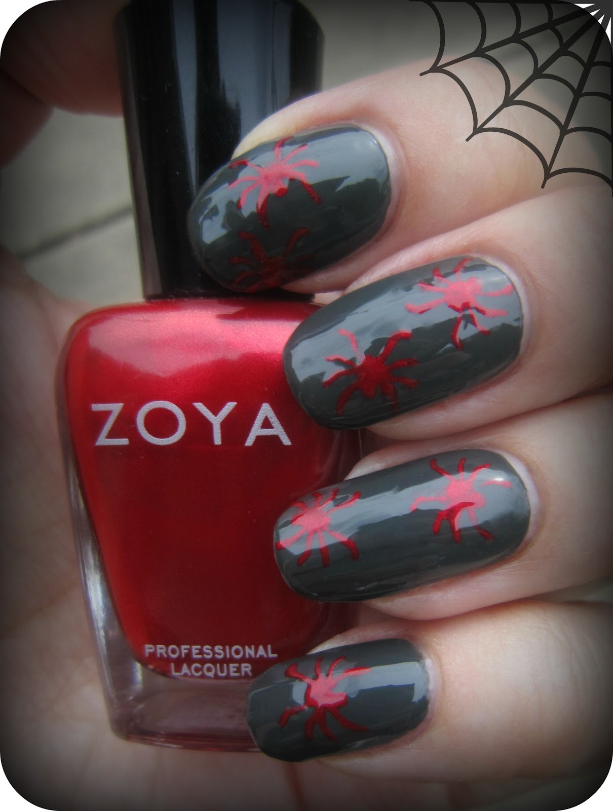 Concrete And Nail Polish Zoya Noot Amp Elisa Spider Nails For Halloween