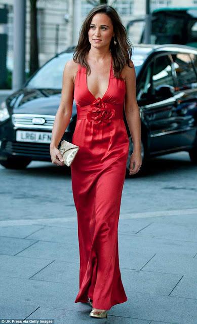 Pippa Middleton vestido longo vermelho, irmã da Kate