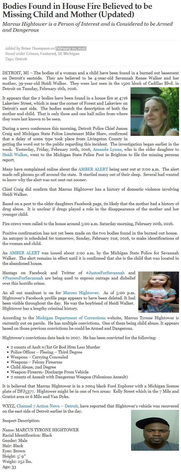 MI; black ex con murders white ex, 4-yo daughter - sentenced - Savannah, Heidi Walker (11-30-16) (2)