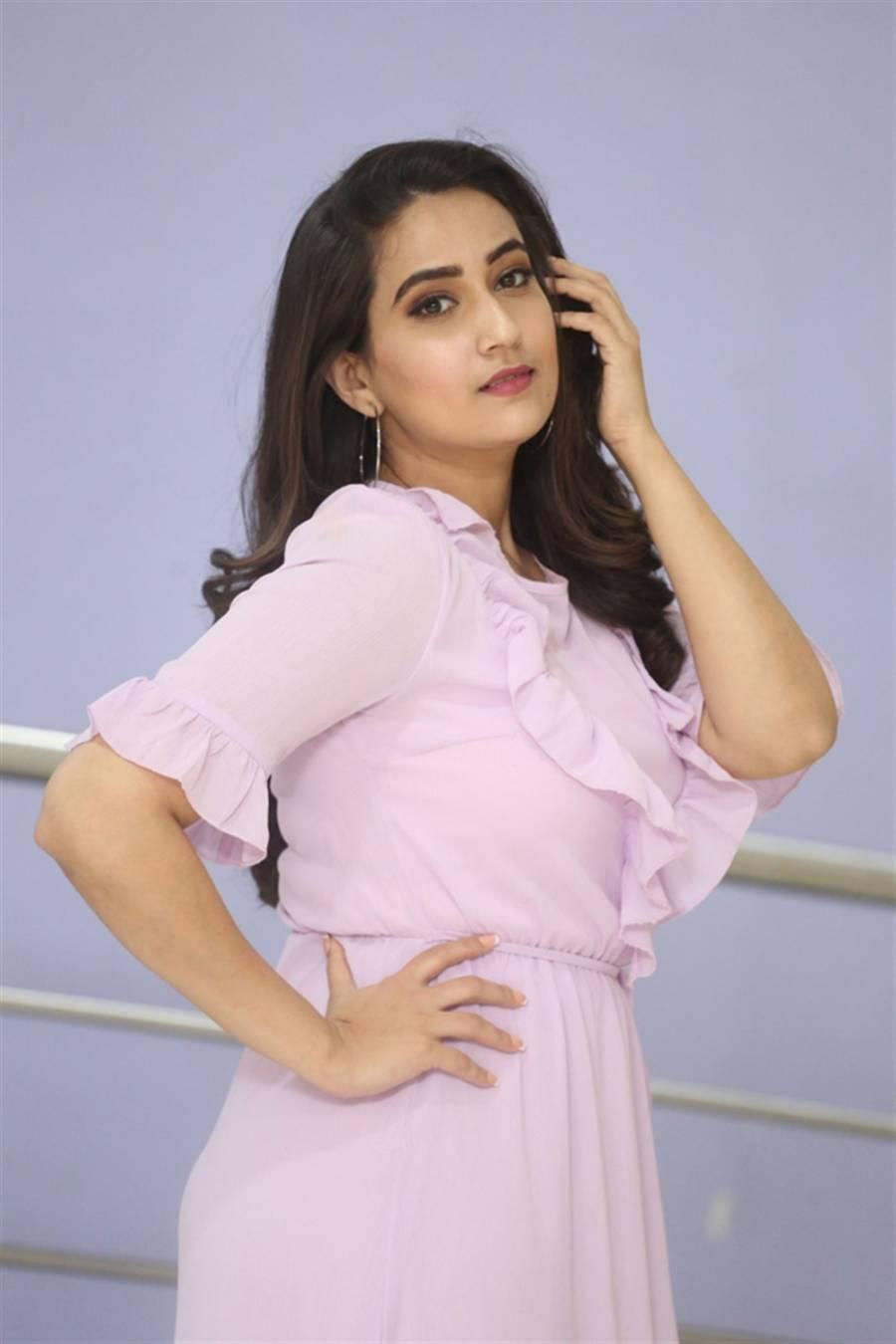 Telugu TV Anchor Manjusha at Dhamki Movie Trailer Launch