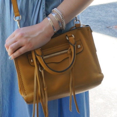 chambray skirt pastel mani Rebecca Minkoff micro Regan satchel in Harvest Gold | Away From The Blue
