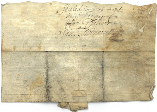 outside of indenture containing signature of justice of the peace