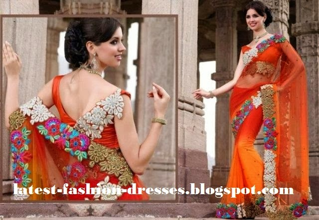 embroidery work saree with back neck blouse