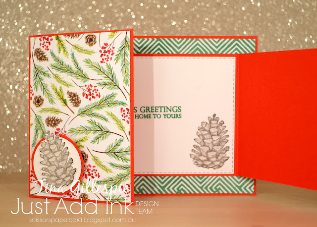 scissorspapercard, Stampin' Up!, Just Add Ink, Merry Christmas To All Bundle, Painted Seasons Bundle, Rectangle Stitched Framelits, Joy Fold Card, Fancy Fold