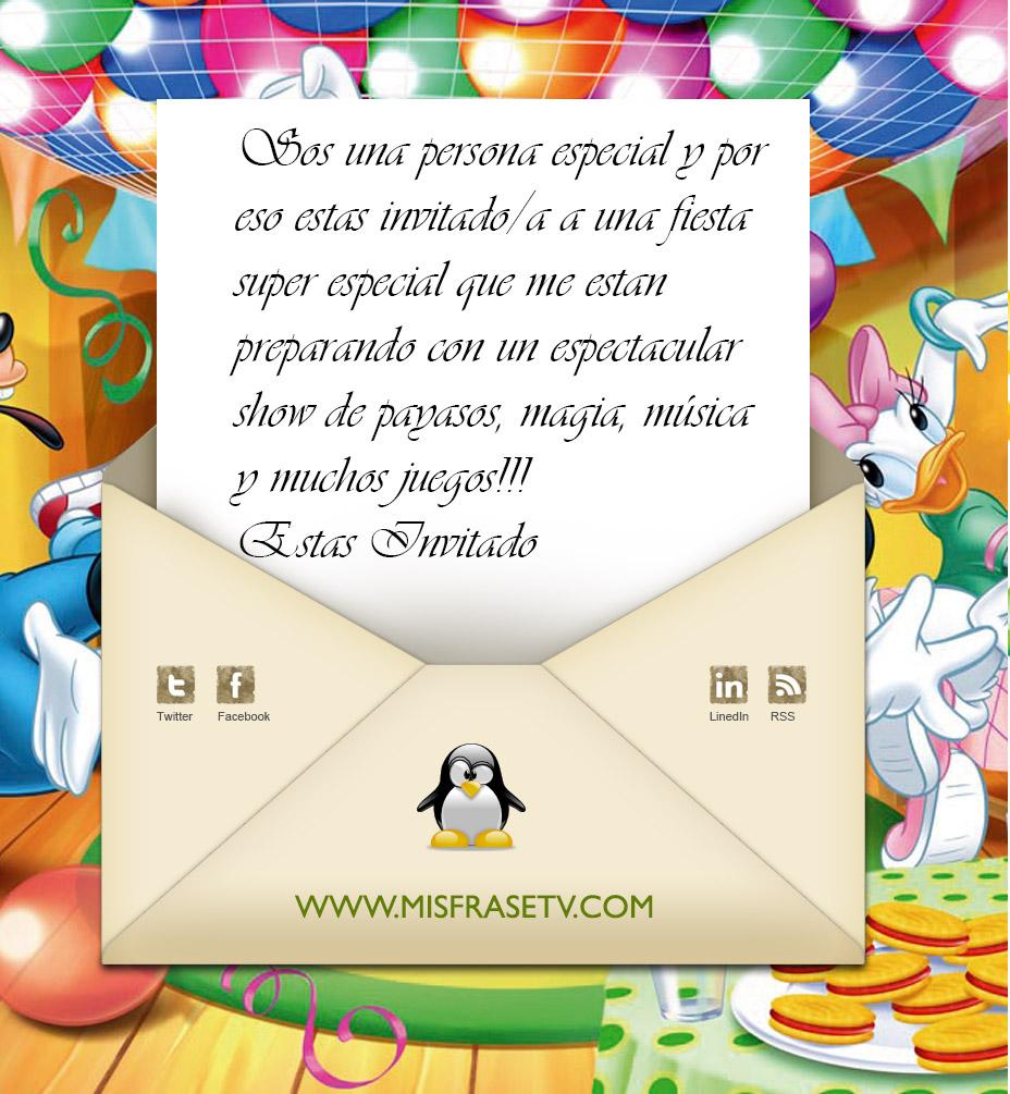 Texto De Invitaciónes De Cumpleaños Imagui