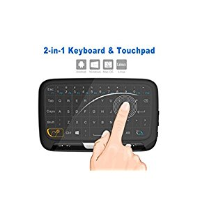 Mini Wireless Touchpad and Keyboard Combo MAXESLA H18 Whole Panel Large Touch Surface Multiple Finger Gestures 2.4G Wifi Mini Touchpad for Android TV Box, Windows PC, IPTV, Raspberry Pi, Macbook.