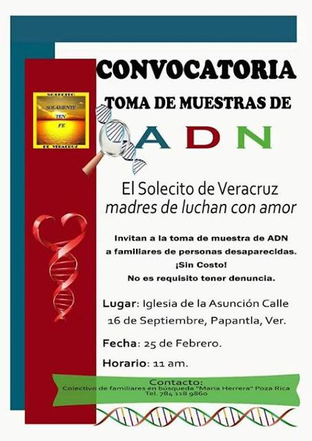 Convocatoria a familiares de desaparecidos muestra de ADN gratis en Papantla Veracruz
