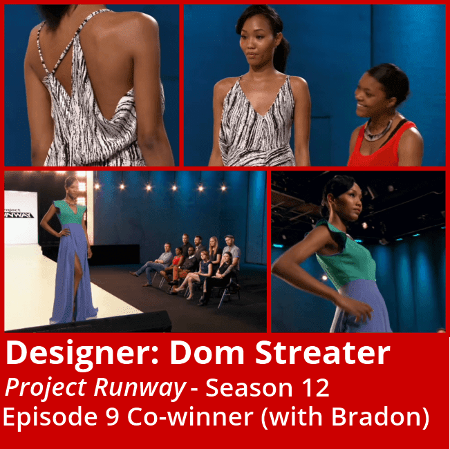 "Lifetime's ""Project Runway"" Season 12 designer Dom Streater with her bottom 3 and winning look in episode 9 ""Let's Do Brunch."""
