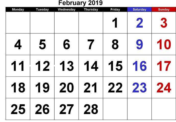 February 2019 Calendar pdf