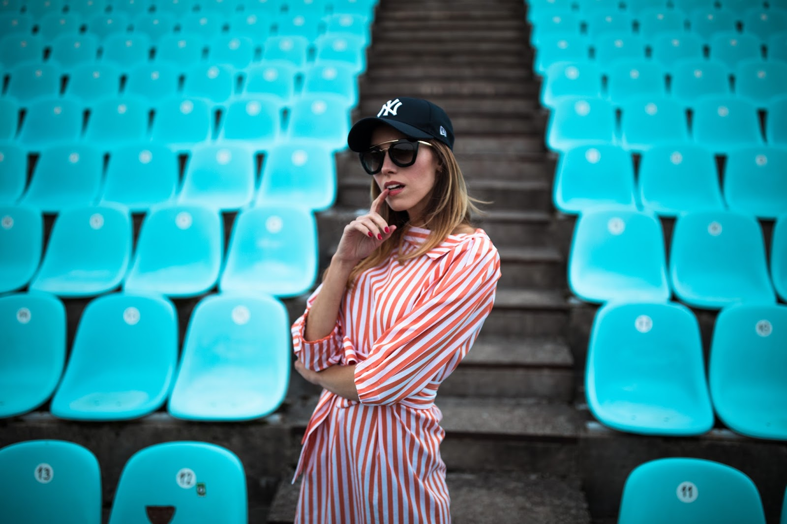 red striped shirt dress cap outfit