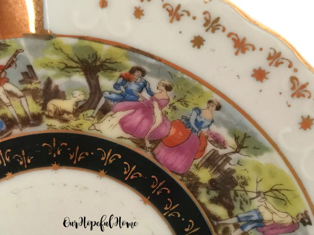 vintage ashtray pastural toile de juoy scene gilded