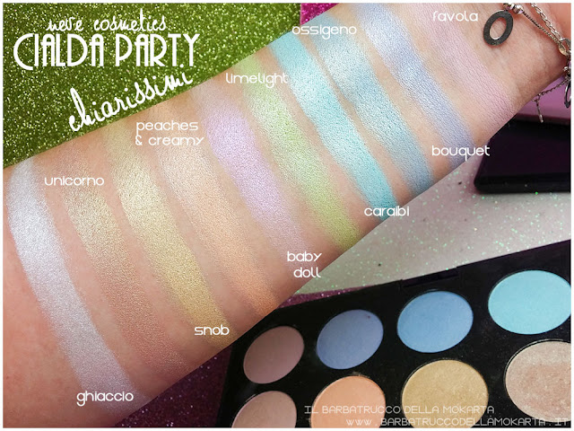 chiarissimi swatches neve cosmetics cialda party review recensione makeup