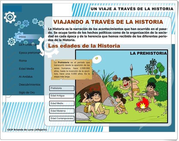 """""""Un viaje a través de la Historia"""" (Aplicación interactiva de Ciencias Sociales de Primaria)"""