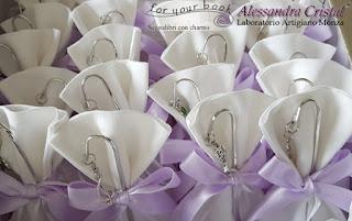 bomboniere segnalibro metallo comunione cresima viola