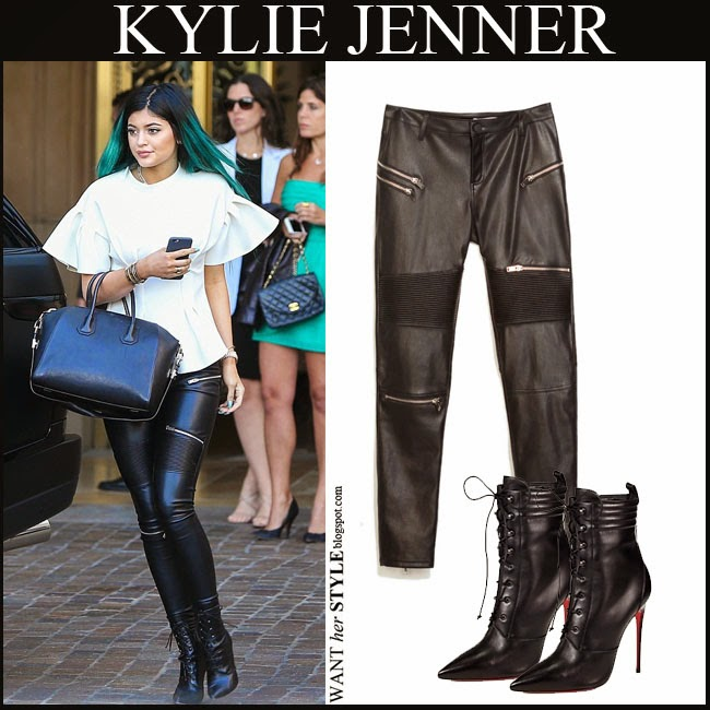 3d7ae7f831 WHAT SHE WORE  Kylie Jenner in black leather leggings with lace up ...