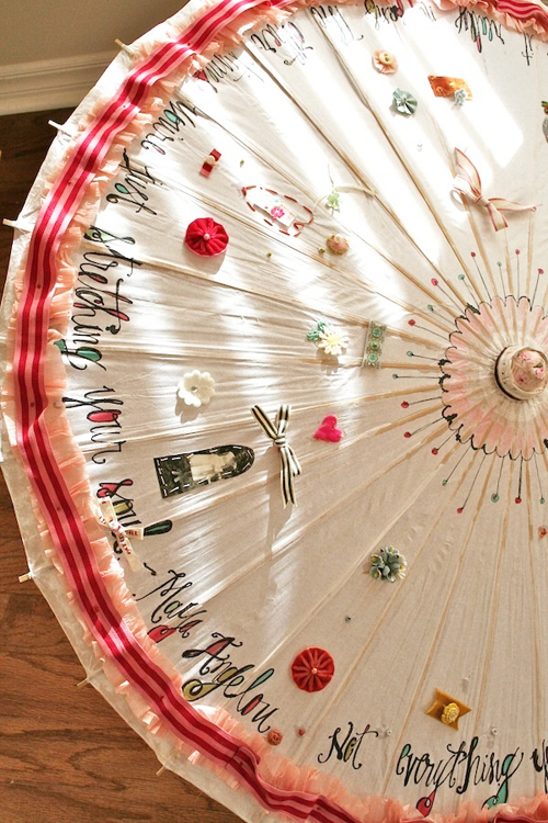 An embroidered parasol by Pam Garrison - Do you want to learn how to embroider like a pro? Find some embroidery projects and embroider stitches to copy and some excellent embroidery ideas and resources for complete beginners.