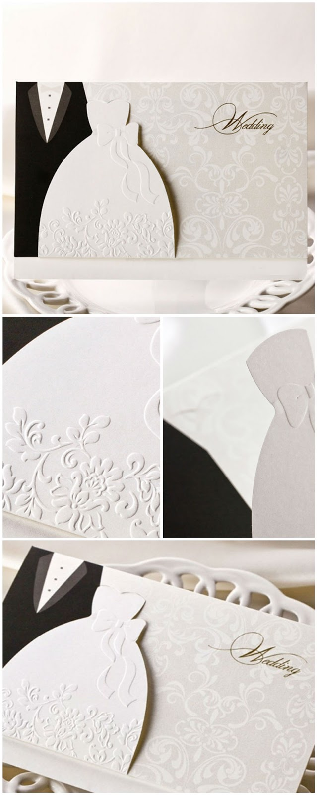 Embossed Western Style Pocket Wedding Card