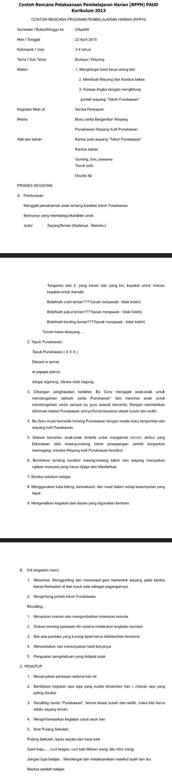 Contoh RPPH PAUD Kurikulum 2013 Usia 3-4 Tahun Kelompok A