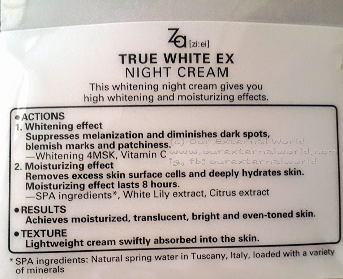 Review: Za True White Night Cream (From Shiseido)