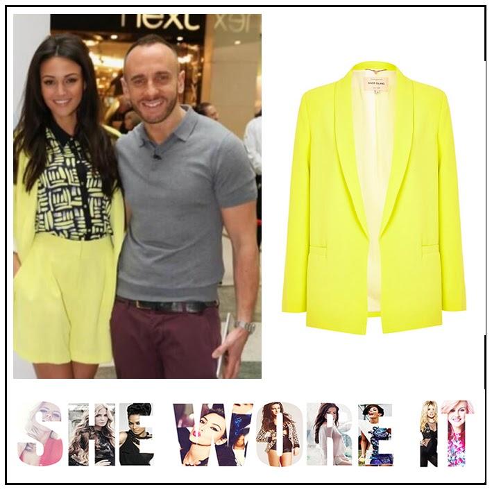 Michelle Keegan, River Island, Neon Yellow, Blazer, High Waisted Shorts, Co-Ordinate Set, Navy Blue, Yellow Printed, Collared Shirt, Lorraine, Suit