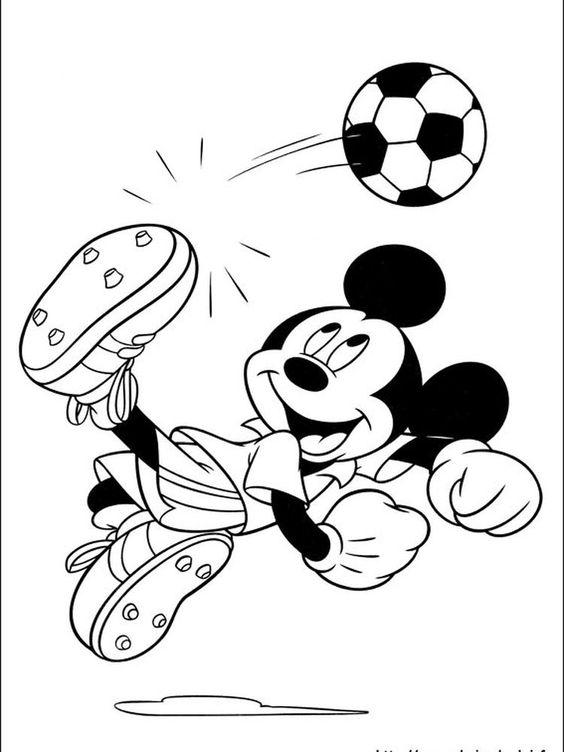 Tranh tô màu chuột Micky đá bóng