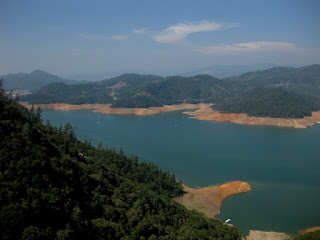 View of Lake Shasta from the hillside above, near entrance to Lake Shasta Caverns, California