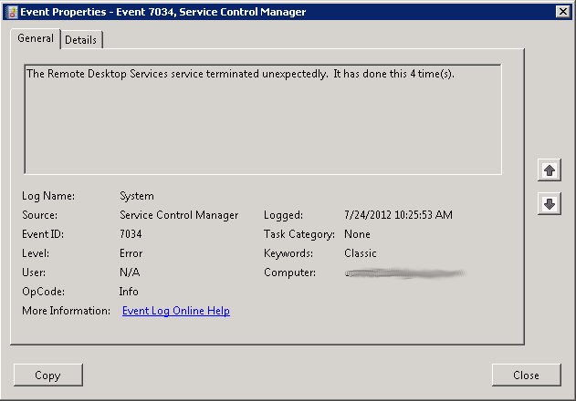 The Remote Desktop Services Service Terminated Unexpectedly