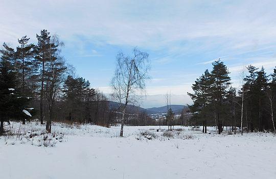 Widok w kierunku doliny potoku Bartnianka. Ulokowała się w niej wieś Bartne.