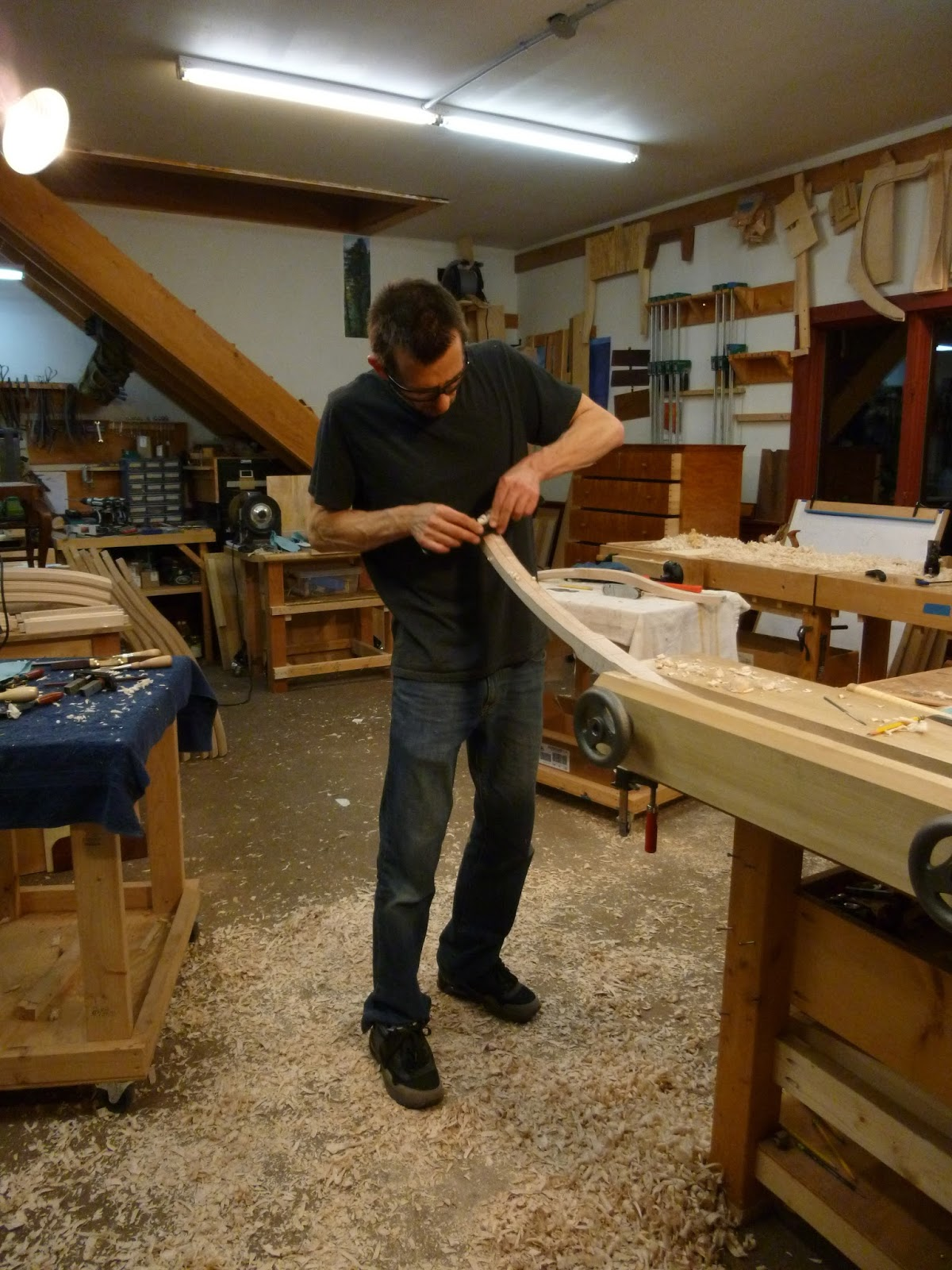 Chair Maker hand shaping chair legs Matt Wolfe
