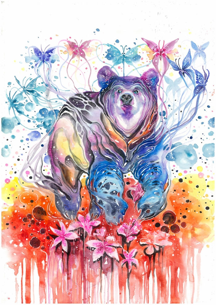 09-Bear-and-Butterflies-Jongkie-art-Luqman-Reza-Mulyono-Vibrant-Fantasy-Watercolor-Animal-Paintings-www-designstack-co