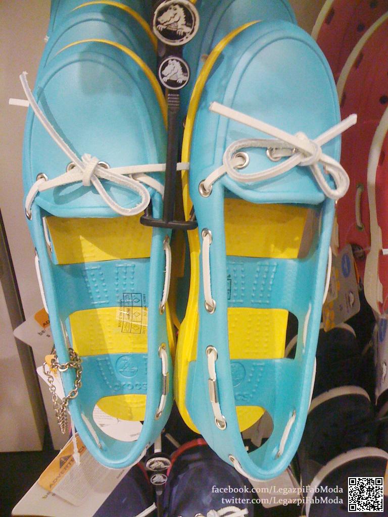 588924b54 The Original Beach-Line Boat Shoe Crocs in Aqua-Yellow