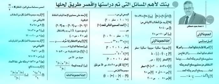 أهم مسائل الرياضيات وطرق حلها للصف السادس ترم ثاني ٢٠١٩