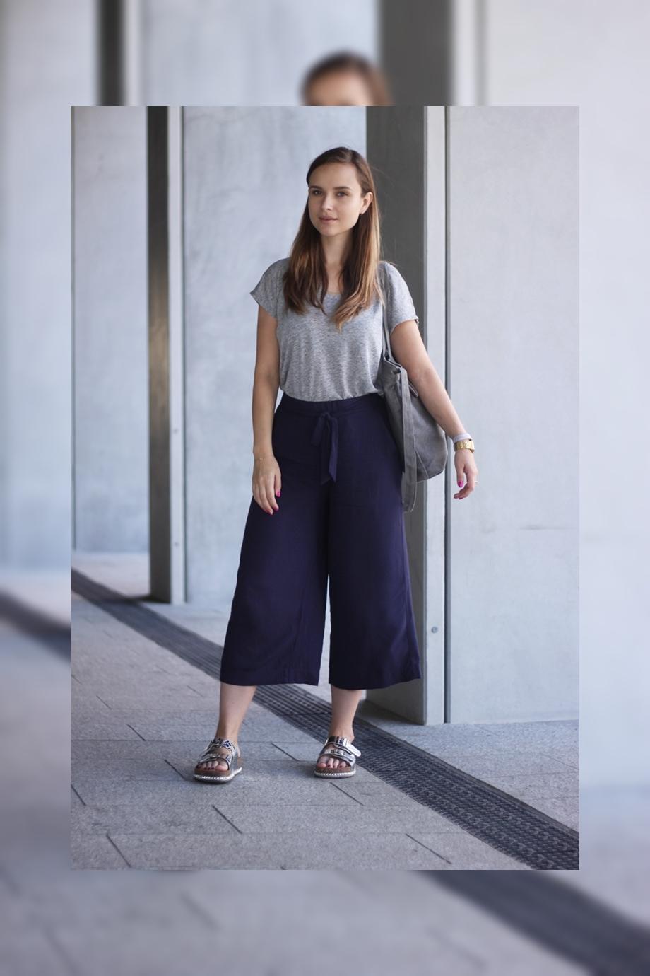 Stylizacja ze spodniami culottes