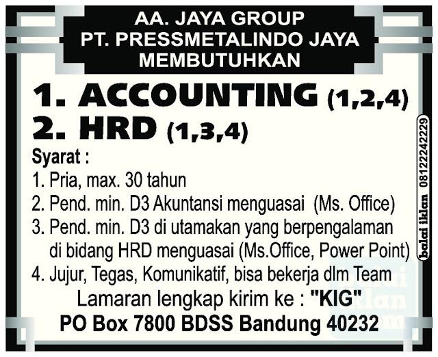 Lowongan Kerja PT. PRESSMETALINDO JAYA (AA Jaya Group)