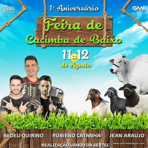 Programação da festa de primeiro aniversário da Feira de Cacimba de Baixo
